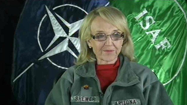 (Source: CBS 5 News) Arizona Gov. Jan Brewer is part of a special governor's delegation that started her trip with a Monday meeting with injured veterans at Walter Reid Medical Center in Bethesda, MD.