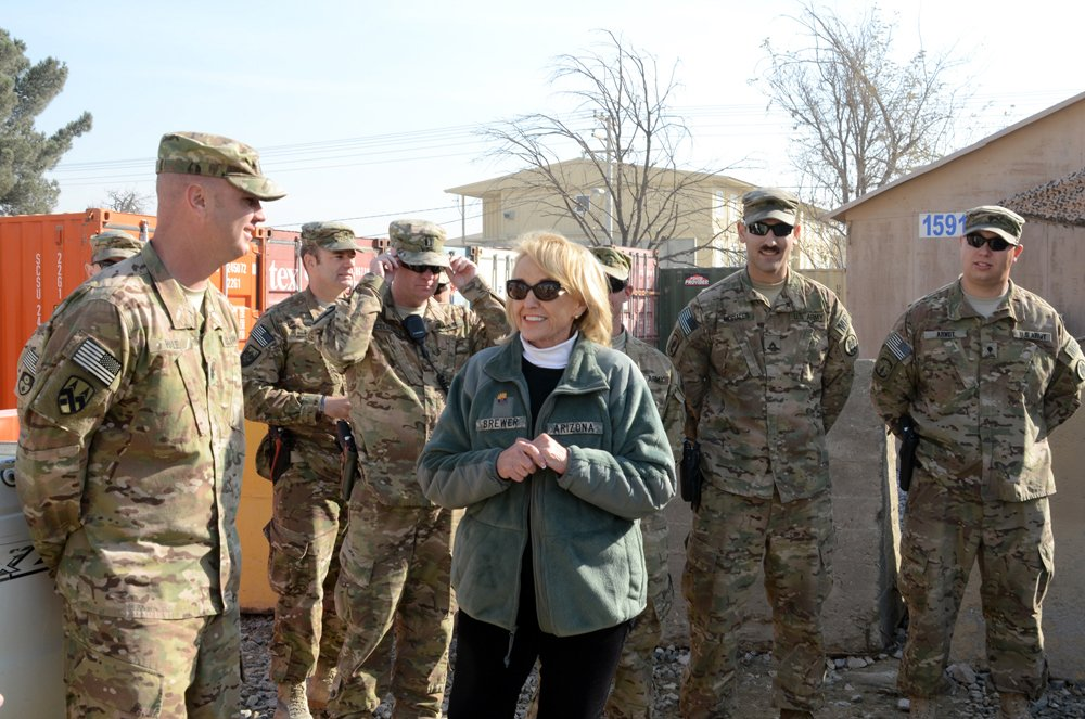 Arizona Gov. Janice K. Brewer visits with soldiers deployed to Afghanistan with the U.S. Army Reserve 539th Military Police Detachment from Buckeye, AZ., Dec. 6, 2012, at Bagram Airfield. (U.S. Army photo by Staff Sgt. David J. Overson, 115th Mobile Pub