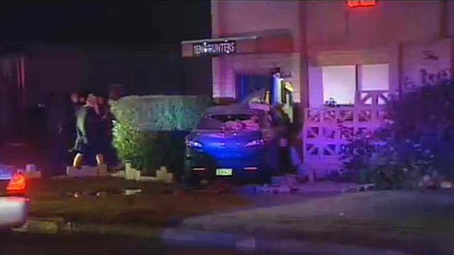 (Source: CBS 5 News) Detectives said the man took the car at gunpoint from a church then crashed into an adult club near 31st Avenue and Clarendon about 10 p.m.