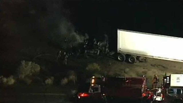 (Source: CBS 5 News) The semi caught fire about 5:30 a.m. near Harquahala.