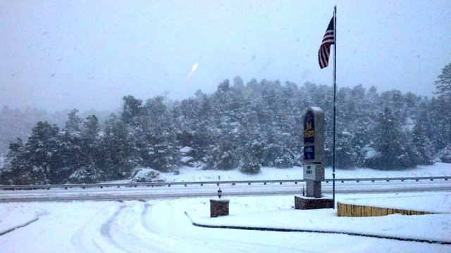 (Viewer submitted photo by Dharmesh Bkakta) Snow from the Heber area Friday morning.
