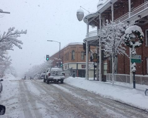Flagstaff roads covered with snow on Saturday morning.