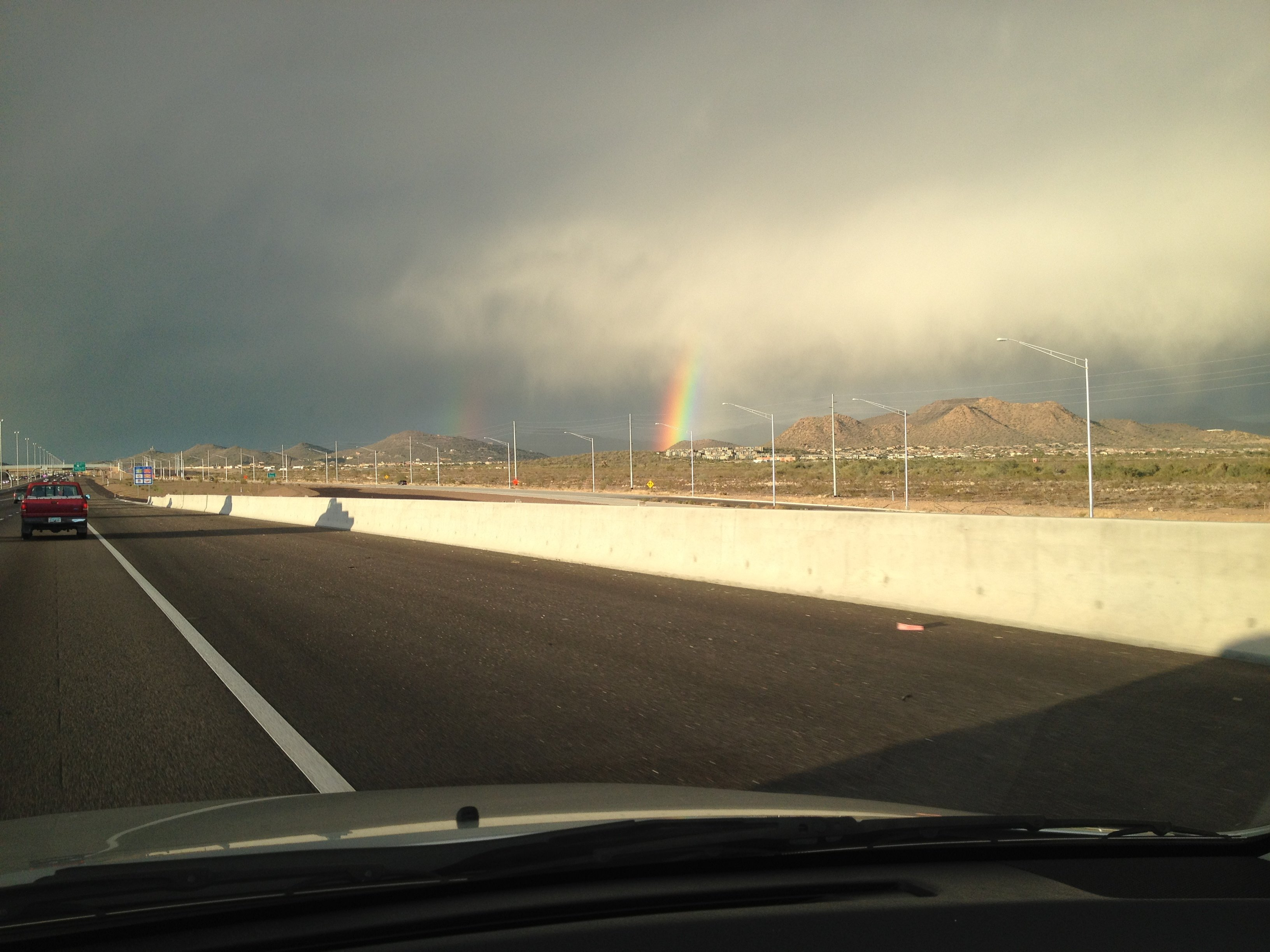 Double rainbow at I-17 and Carefree Highway. (Courtesy: Leona Wood, CBS 5 News)
