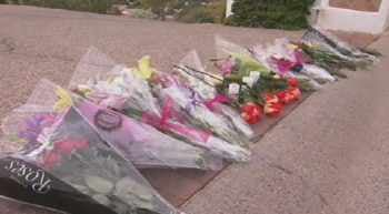 Flowers placed outside the family's home in Arcadia.