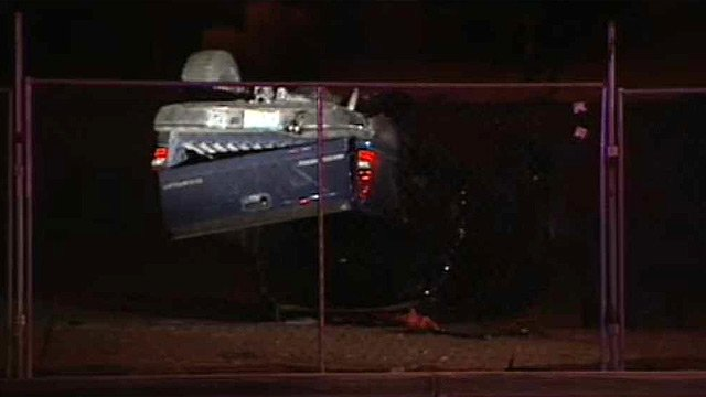(Source: CBS 5 News) One man was killed and another hospitalized in critical condition after the pickup truck in which they were riding rolled near 83rd Avenue and Bell Road in Glendale late Sunday night.