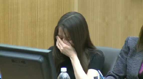 Jodi Arias began crying in court as a Mesa police officer described the scene of Travis Alexander's death.