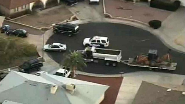(Source: CBS 5 News) The truck and backhoe were reported stolen about 7:18 a.m.