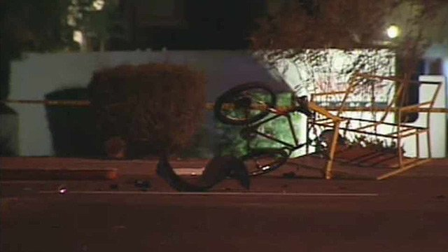 (Source: CBS 5 News) Three people were hospitalized after this pedicab and a car collided in Scottsdale on Friday morning.