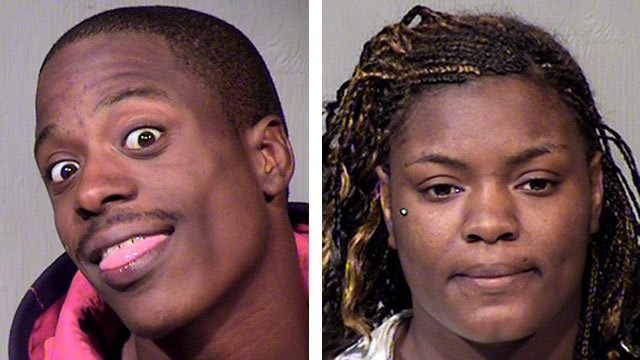 (Source: Maricopa County Sheriff's Office) Dwayne Phelps, left, and Jasmine Shanead Greer, were arrested in connection with the April armed robbery attempt and shooting of two people.