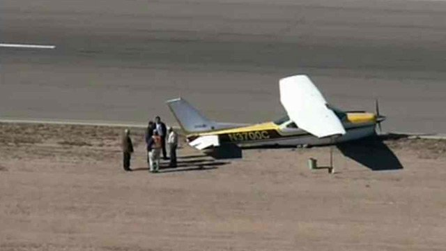 (Source: CBS 5 News) Two people were unhurt after the small plane they were in made a hard landing at Glendale Municipal Airport on Friday.