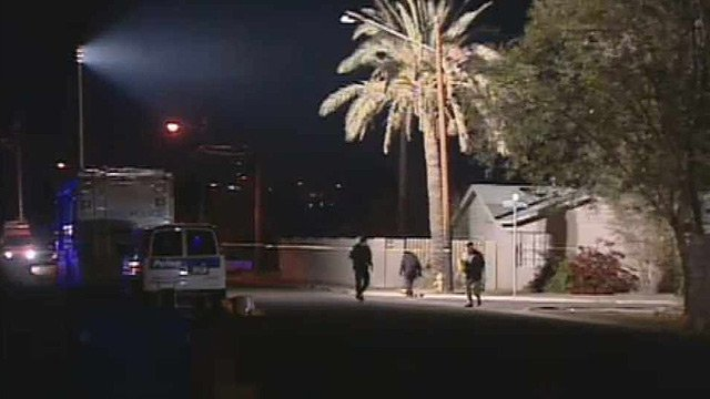 (Source: CBS 5 News) A Phoenix police officer was shot twice after he stopped a man on a bicycle Sunday night.