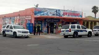 Police scene at New Star Market on Thursday.