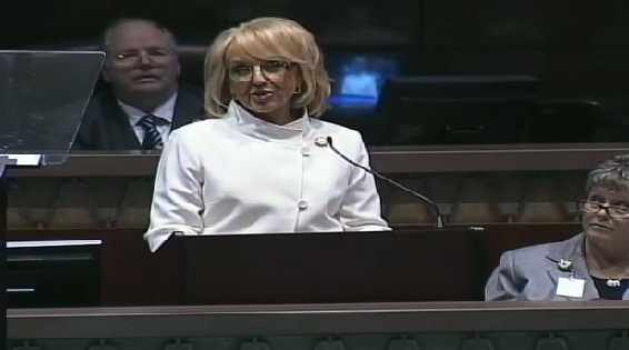 (Source: CBS 5 News) Arizona Gov. Jan Brewer giving her 2013 State of the State address.