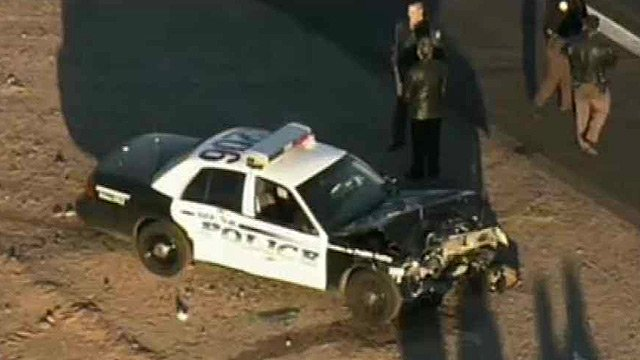 (Source: CBS 5 News) One person died in a two-vehicle crash that involved a police cruiser in Mesa on Tuesday morning.