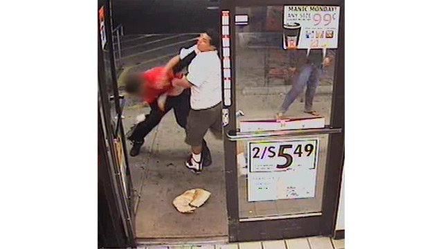 (Source: Phoenix Police Department) He then punches the employee before both suspects left with two cases of beer.