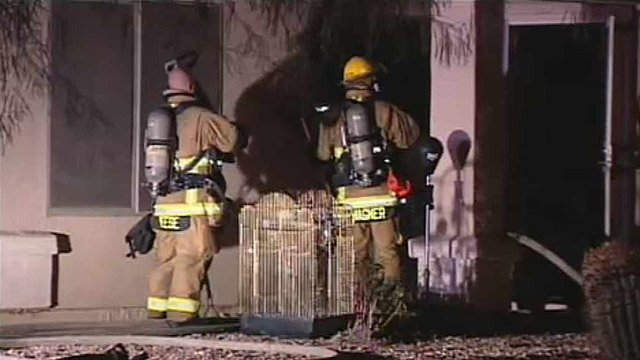 (Source: CBS 5 News) Two birds and a cat died from smoke inhalation.