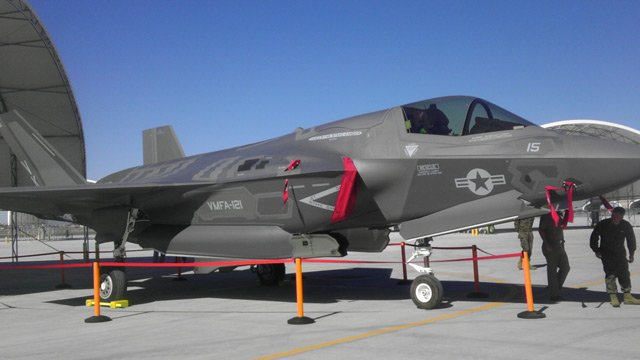 (Source: KSWT-Yuma) An F-35 after it was delivered at the Marine Corps Air Station in Yuma.