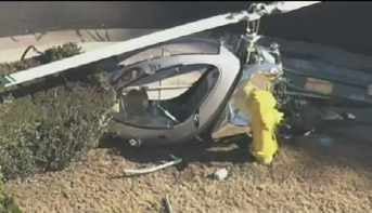 Helicopter makes emergency landing next to a fire hydrant in a Mesa neighborhood.
