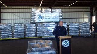 U.S. Customs and Border Patrol officials showed the 7 tons of marijuana seized Jan. 15. (Source: KOLD-TV)