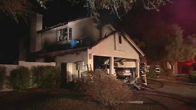(Source: CBS 5 News) The fire is believed to have started about 11 p.m. in the garage of the home in the area of 100th Street and Sweetwater Avenue