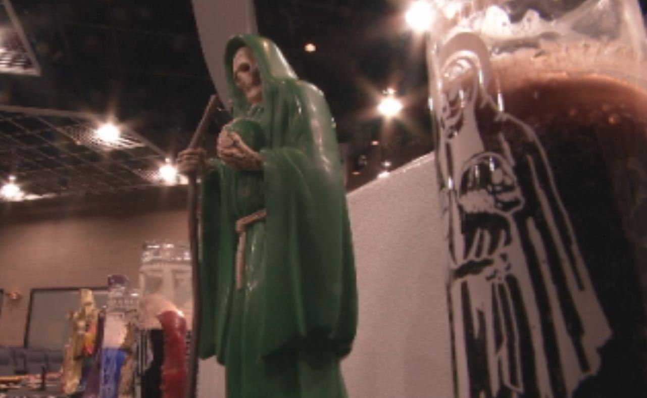 "(Source: CBS 5 News) A statue of ""La Santa Muerte"""