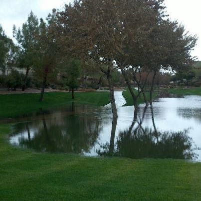 Standing water in the Phoenix area from Saturday afternoon rains.