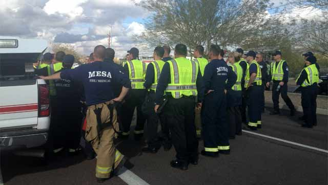 About 30 police officers and firefighters responded to the scene. (Source: Allyson Blair, cbs5az.com)