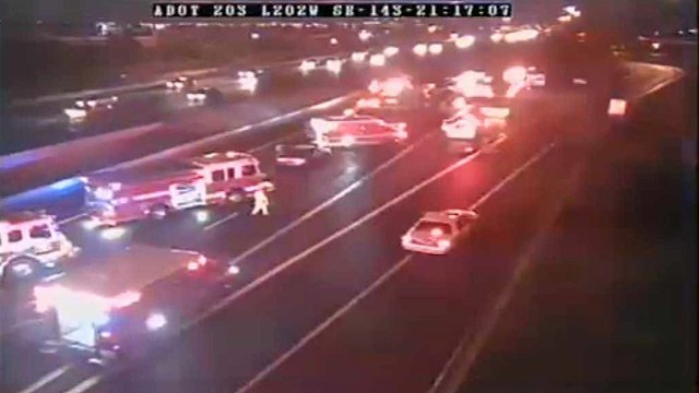 (Source: ADOT freeway camera) Two women were killed and three children seriously hurt when their SUV was struck from behind while sitting disabled in the HOV lane of Loop 202 on Sunday night.