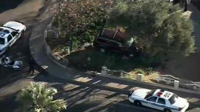 (Source: CBS 5 News) Three teenagers were hospitalized after the SUV they were in slammed into a tree in Glendale early Tuesday morning.