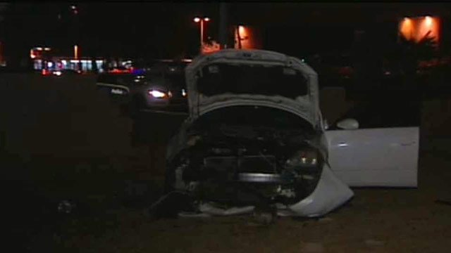 (Source: CBS 5 News) A pregnant woman had to cut from her car and taken to a hospital after a crash early Monday morning.