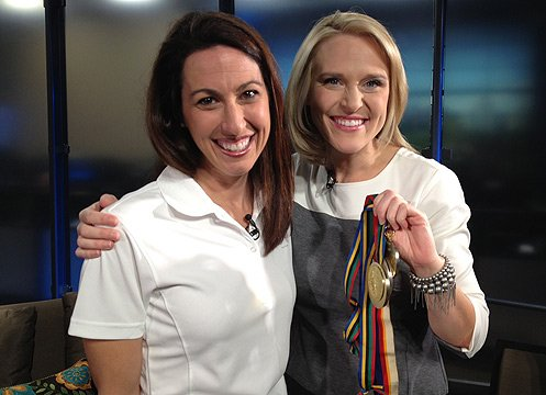 (Source: CBS 5 News) Janet Evans with Katie Baker.
