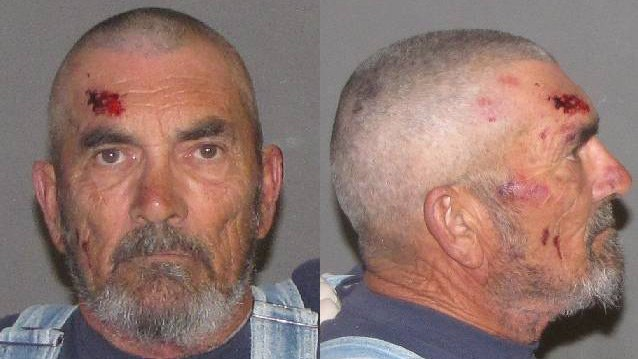 (Source: Yuma County Sheriff's Office) Larry Noll was arrested Saturday and booked into jail on first-degree burglary charges, various weapons offenses and multiple domestic violence charges after a struggle with Yuma County sheriff's deputies.