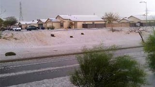 Robert Withers sent in this photo of hail in El Mirage.