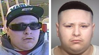 (Source Tempe Police Department) Angelo Moreno, right, and a photo from a surveillance camera at a pharmacy that was robbed last week.