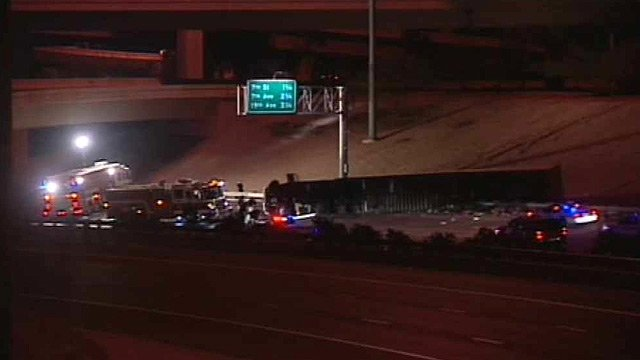 (Source: CBS 5 News) Westbound Interstate 10 is closed at the Mini Stack after a semi-truck carrying coffee creamer rolled onto its side and spilled fuel.