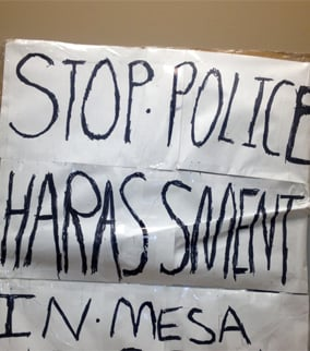 Police said this was the sign Wiseman was carrying. (Source: Mesa Police Department)