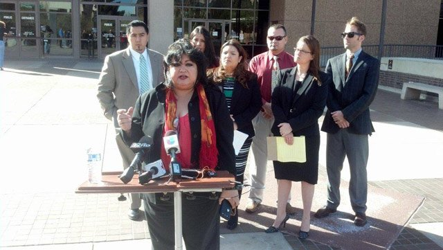 Lydia Guzman, national immigration chair for the League of United Latin American Citizens, speaks to the media Friday. (Source: CBS 5 News)