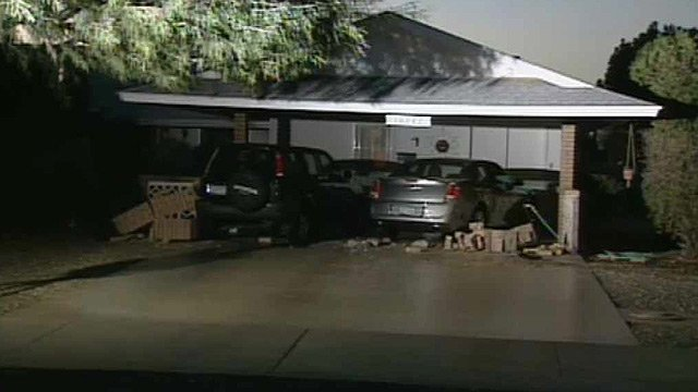 (Source: CBS 5 News) A man suffering from a medical condition lost control of his car and struck several homes and vehicles in Sun City on Monday morning.