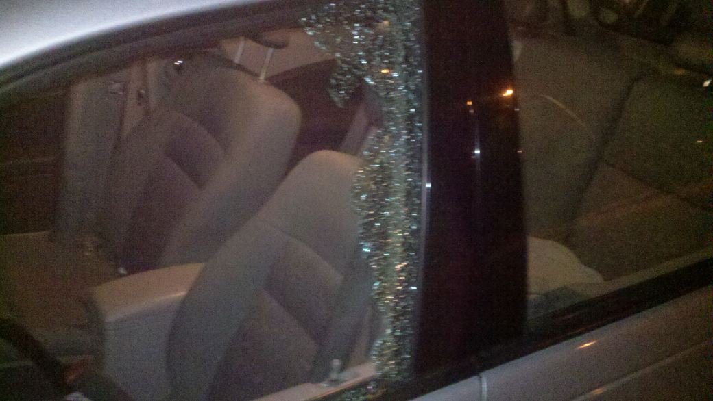 Tostenson's car window after the vandalism.