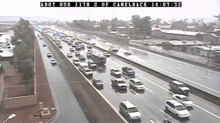(Source: CBS 5 News) Hail stops I-17 traffic south of Camelback Wednesday afternoon.
