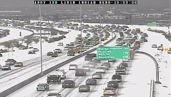 (source: CBS 5 News) Loop 101 &amp; Indian Bend looked like a winter wonderland.