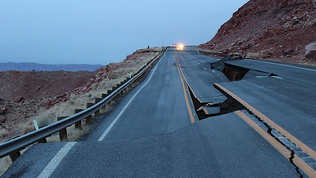 (Source: Arizona Department of Transportation) A 150-foot section of U.S. 89 about 25 miles south of Page collapsed early Wednesday morning.