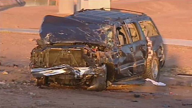 (Source: CBS 5 News) A 30-year-old woman was ejected from this SUV after it rolled in Glendale on Thursday morning.