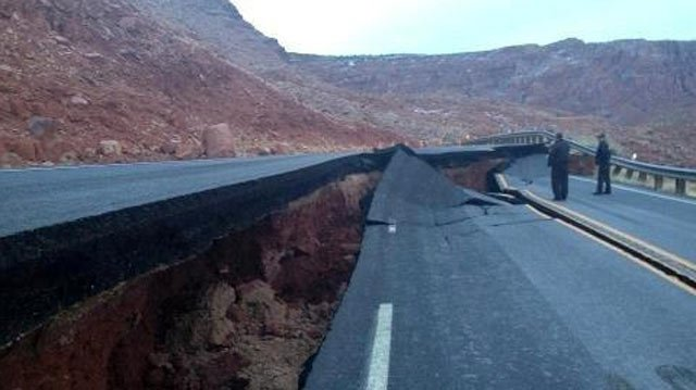 A stretch of U.S. 89 in northern Arizona will remain closed indefinitely because of damage to the roadway about 25 miles south of Page. (Source: Arizona Department of Transportation)