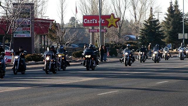 © Motorcycles were part of the escort given U.S. Marine Staff Sgt. Jonathan Davis on Friday morning. (Photo: Calvin Johnson / Leupp)