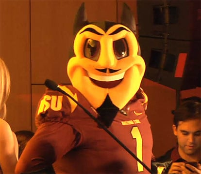 The new Sparky has a more smiling face than the previous one, with much larger eyes and less sinister-looking eyebrows. (Source: Arizona State University)