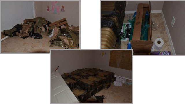 Sheriff's detectives said they found a half-ton of pot in a van Monday and that the house where the driver was seen leaving was believed to be a marijuana repackaging site. (Source: Maricopa County Sheriff's Office)