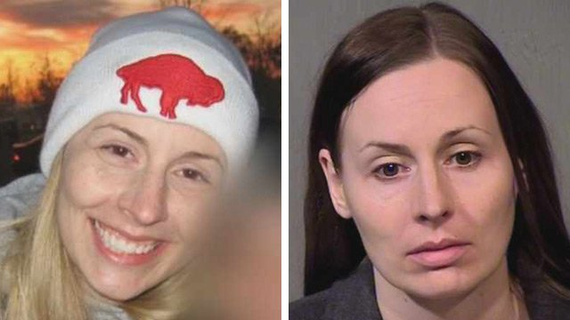 By the looks of it, Jessica Lynn Mukavetz had it all together in the photo on the left. But it appears the 33-year-old Mukavetz was leading a double life, as her mug shot on the right can attest. (Source: CBS 5 News)