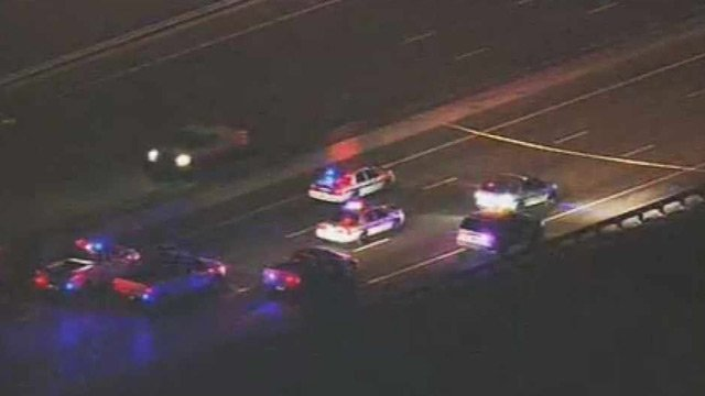 DPS cruisers block the southbound lanes of I-17 near the I-10 split Thursday morning. (Source: CBS 5 News)