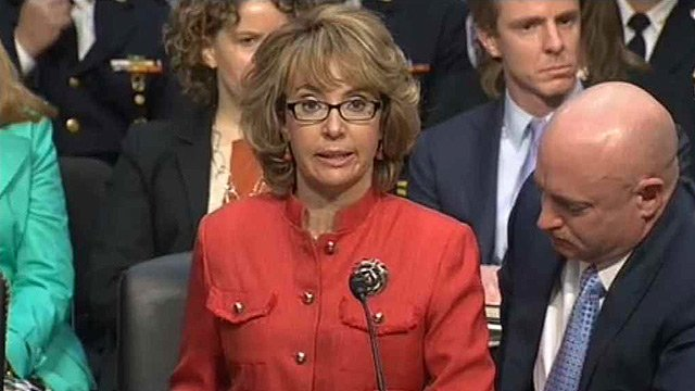 Former U.S. Rep. Gabrielle Giffords during a hearing on gun violence in Washington, D.C. (Source: CNN)